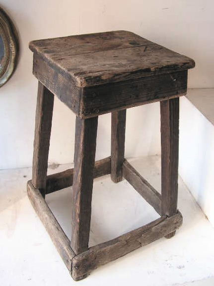 Stool - low rustic square stool