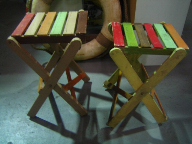 Stools - vintage slatted stools painted multi colour (can be used as side tables)