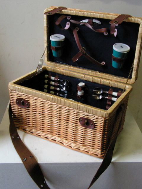 BAS0061 BASKET, Picnic Hamper - Leather Shoulder Strap $15