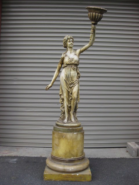 STA0006 STATUE, Lady w Torch on Round Plinth - 70cm W x 2.4m H $187.50