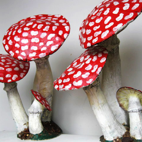 TOA0001 TOADSTOOL, Cluster of 3 - Papier Mache 60cm High $37.50