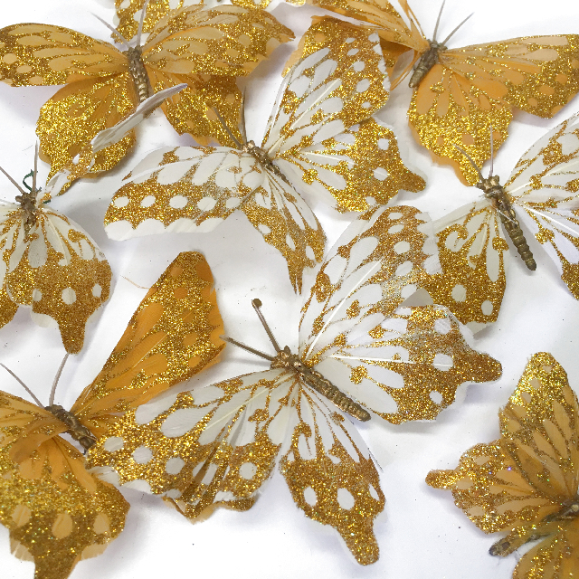 BUT0001 BUTTERFLIES, Small Cream & Gold Decoration $0.25