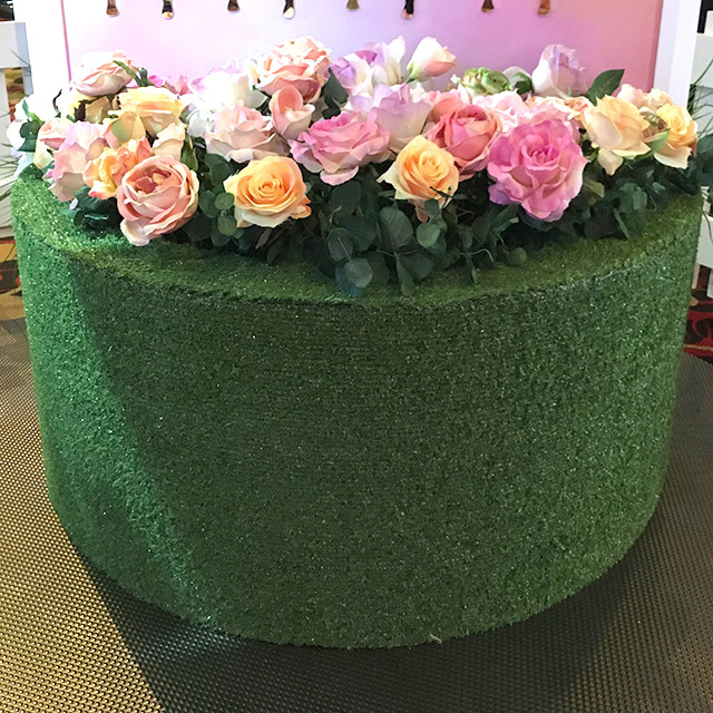 PLA0014 PLANTER, Flower Box - Faux Grass Semi Circle 1m W x 30cm H (Comes Empty - Floral Additional) $87.50