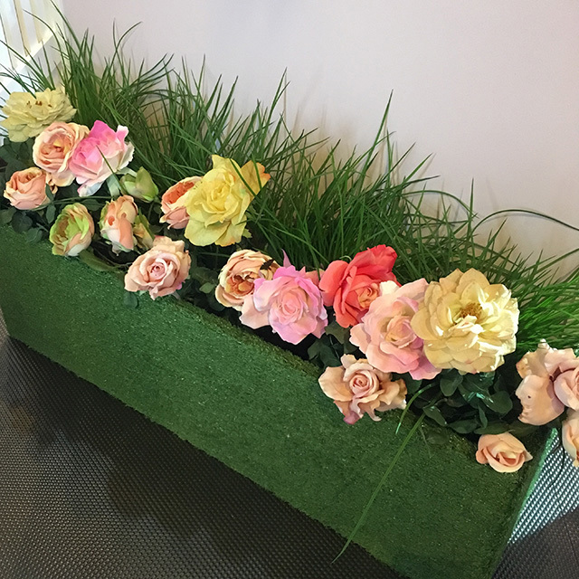 PLA0015 PLANTER, Flower Box - Faux Grass 1m L x 20cm D x 30cm H $50 (with Optional Floral)