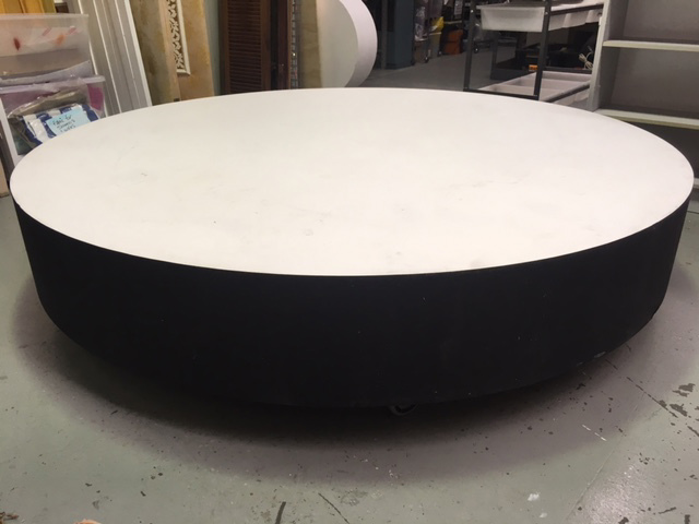 PLI0001 PLINTH, Large Round Stage Piece on Castor Wheels - 2m Dia x 42cm H $200
