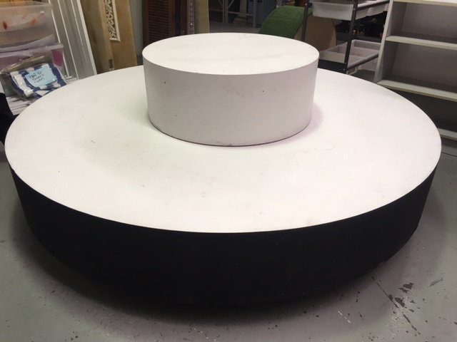 Round Small Staging Plinth on top of Large