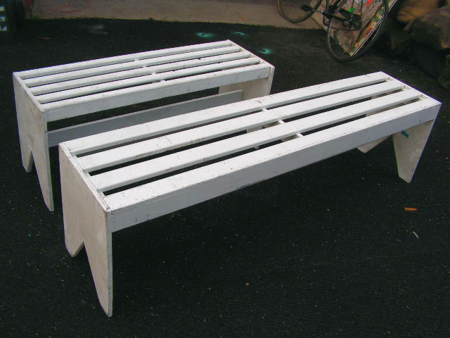 BENCH, Timber - White Slat 1.2m Long Backless (BEN0104) and 1.8m (BEN0105) $50 Each