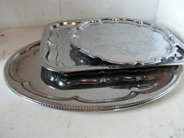 Assorted Silver Trays & Platters