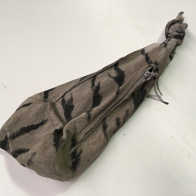BAG0130 BAG, Tribal Storage Pouch - Grey suede w Stripe $10