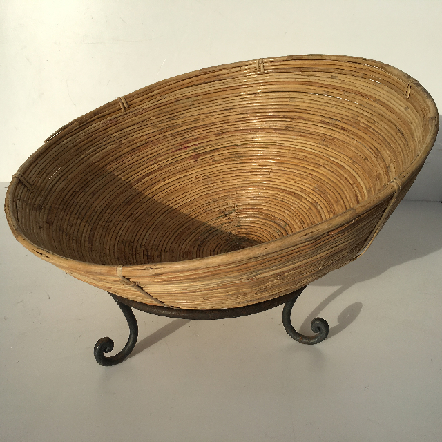 BAS0015 BASKET, Bamboo Bowl $12.50 w Stand $6.25