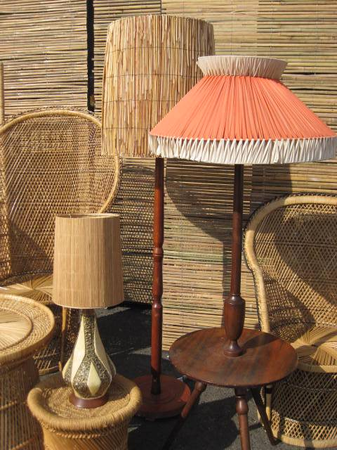 Assorted Cane and 1950's Lamps