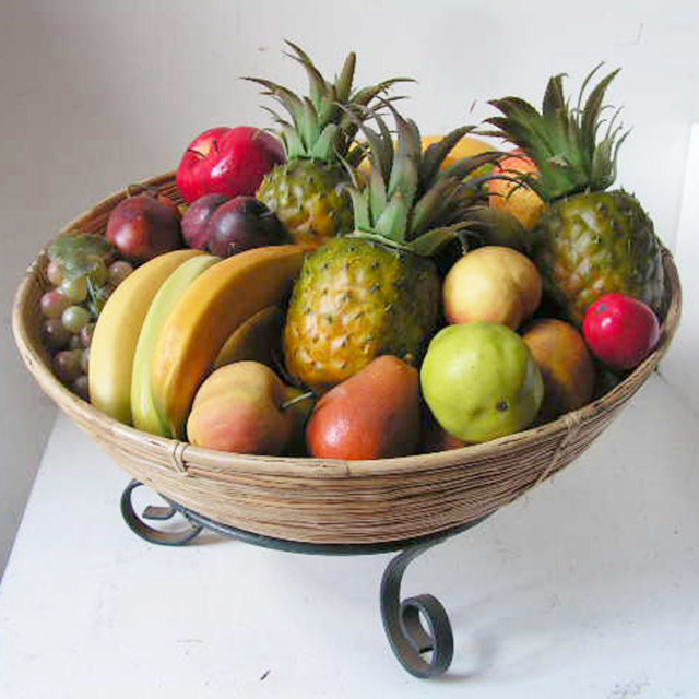 FRU0015 FRUIT, Artificial - Tropical Fruit Basket $45 (pictured w optional stand)