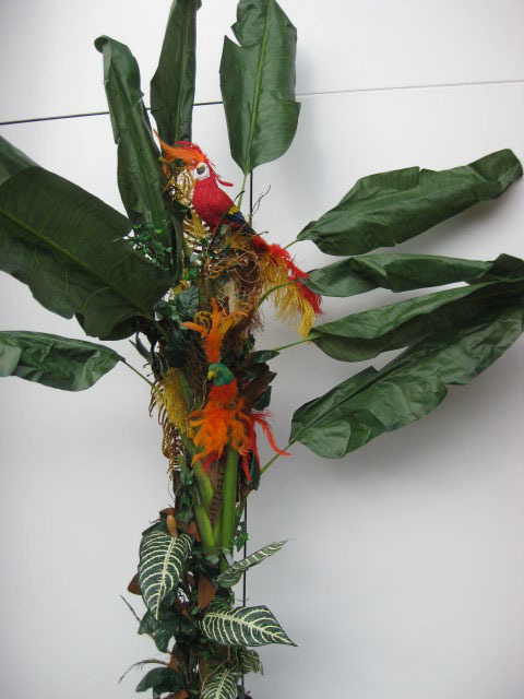 GRE0007 GREENERY, Banana Palm w Feathers & Parrots 2.4m H x 1.8m W $100