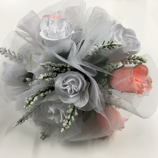 FLO0050 FLORAL, Bouquet - Bridal Silver w Roses & Tulle $12.50