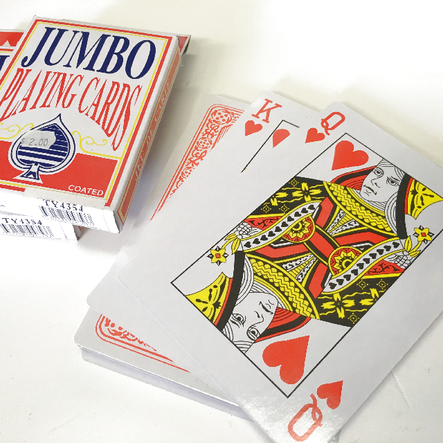 PLA0051 PLAYING CARDS, Jumbo Pack of Playing Cards 9 x 13cm high $2.50