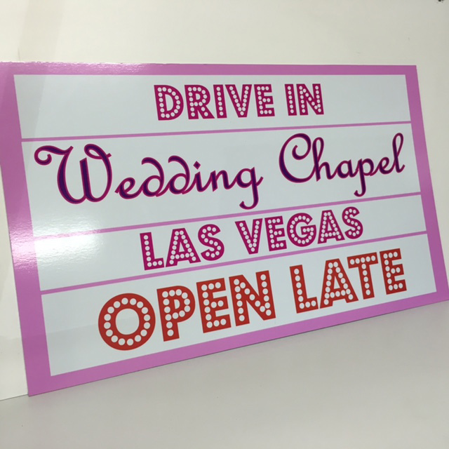 SIG0038 SIGN, Drive In Wedding Chapel 60x80cm $37.50