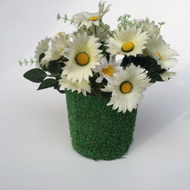 POT0120 POT, Single Grass Covered Planter Pot (Cement Filled) - 15cm high (For Floral or Lollipops) $6.25