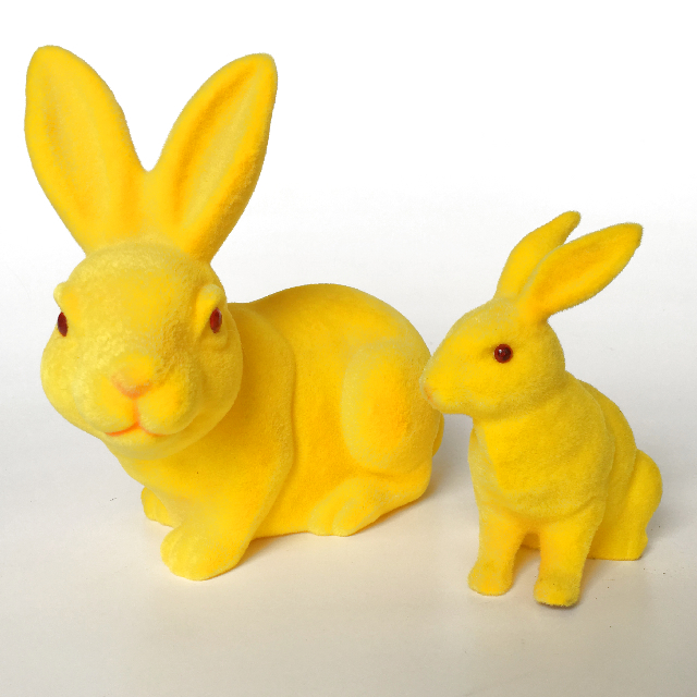 RAB0002 RABBIT, Large Flocked Yellow 18cm x 19cm High $6.25 & Small $3.75