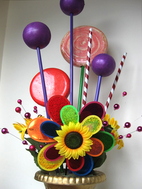 Urn Arrangement - Custom Windmill Flowers & Lollipops (POA)