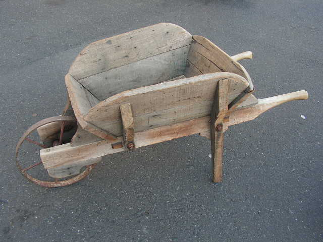 WHE0001 WHEELBARROW, Rustic Timber $62.50