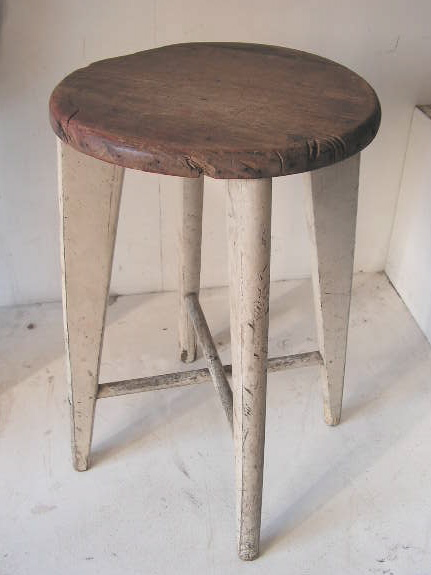 STO0303 STOOL, Milking Stool - Timber Seat White Legs $17.50