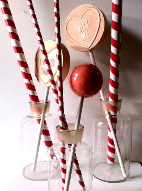 LOL0011 LOLLY, Candy Cane Straw Red & White Stripe 1.5m H PVC $7.50 (pictured with Lollipops)