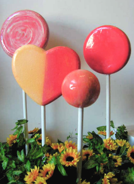 Lollipops in Flower Pot Stands