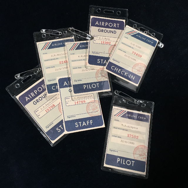 AIR0006 AIRLINE ID TAGS, 1980s Crew and Ground Staff IDs $2.50
