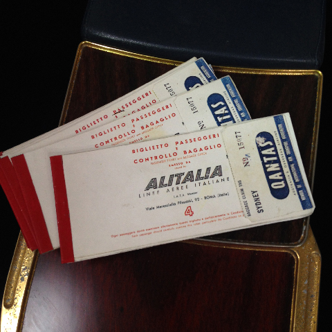AIR0011 AIRLINE TICKET, Alitalia 1960s $12.50