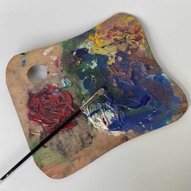 ART0614 ARTIST'S PALETTE, Medium Wooden Rectangular (Coloured Paint) $15