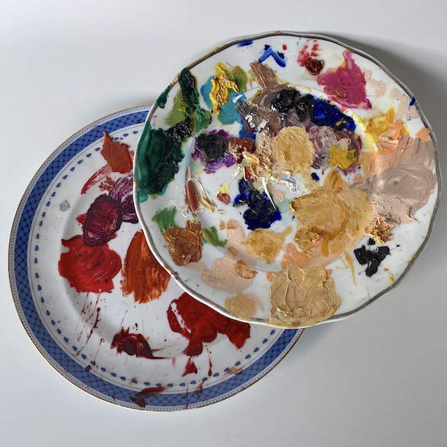 ART0616 ARTIST'S PALETTE, Plate (Coloured Paint) $12.50