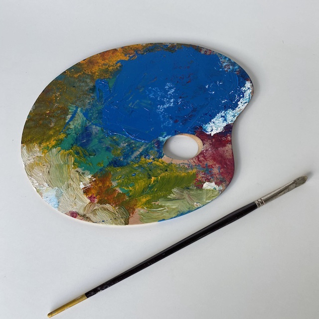 ART0618 ARTIST'S PALETTE, Small Wooden (Blue Paint) $15