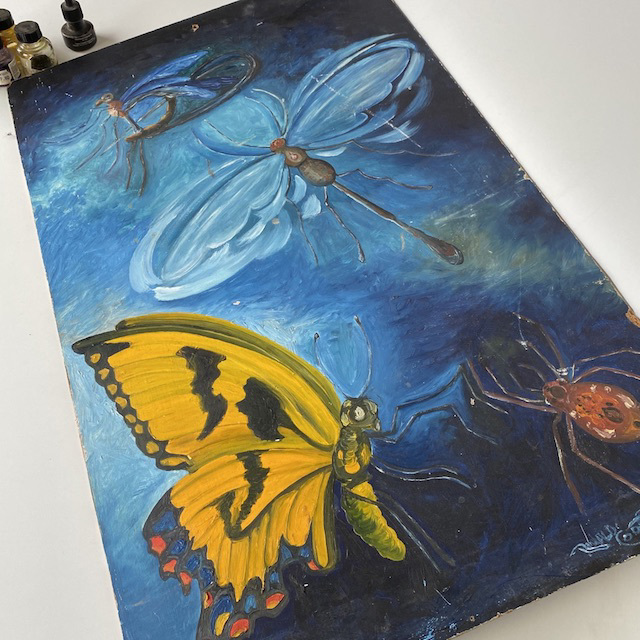 ART0002 ARTWORK, Blue Yellow Butterfly Painting on Art Board (Large) $10