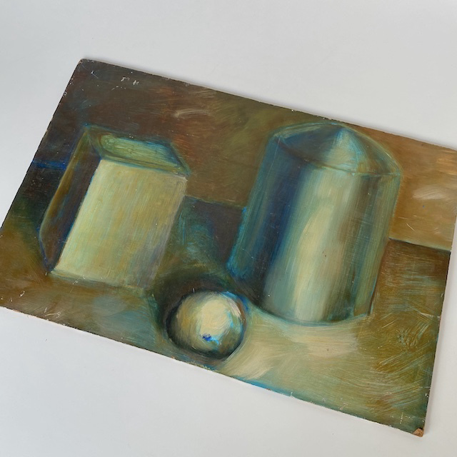 ART0005 ARTWORK, Still Life Painting - Shapes on Art Board $6.25