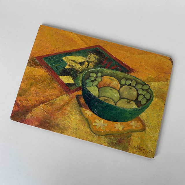 ART0006 ARTWORK, Still Life Painting on Art Board (Orange Green Bowl) $6.25