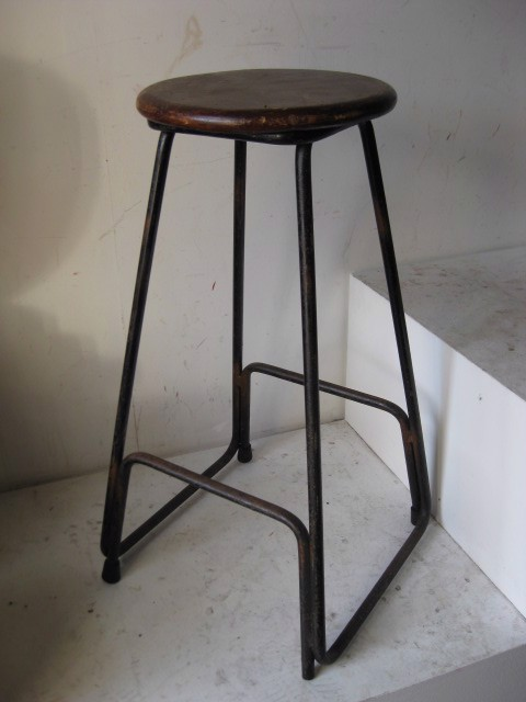 STO0104 STOOL, Bar Stool -  Dark Timber Seat with Black Iron Legs $20