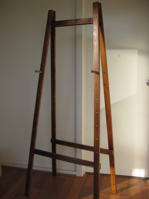 EAS0002 EASEL, Stained Timber w Adjustable Pegs $30