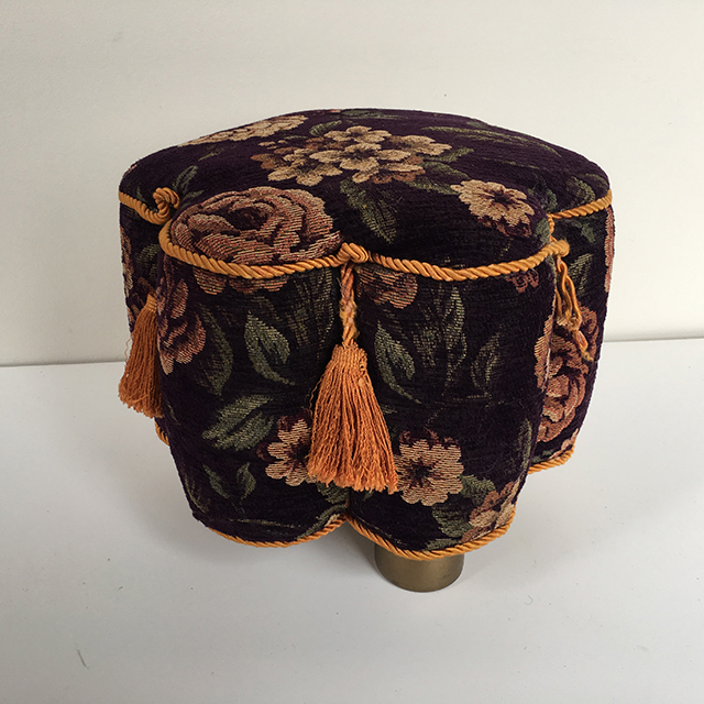 STO0300 STOOL, Foot Stool - Purple Floral w Gold Tassel $18.75