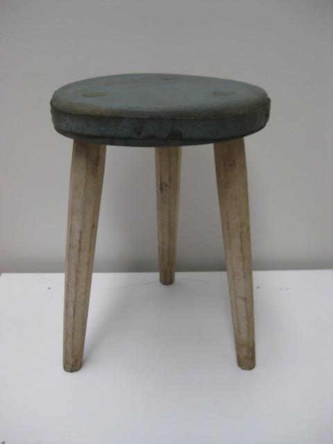 STO0301 STOOL, Milking Stool - Aged Grey Seat White Legs $17.50