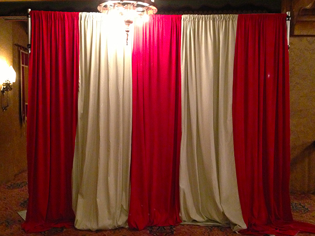 BAC0001 BACKDROP, Curtain - Red and White 6m x 3m $125 (Rigging Additional)