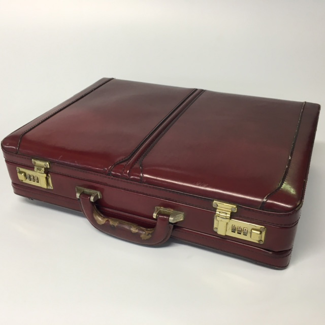 BRI0014 BRIEFCASE, Hard Shell Exec Style - Burgundy $18.75