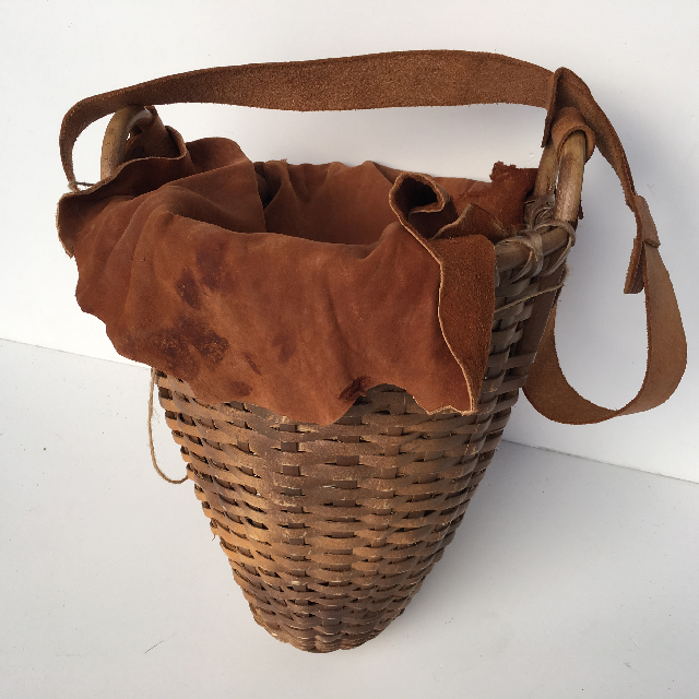 BAS0104 BASKET, African Storage Style - Suede Cover $15