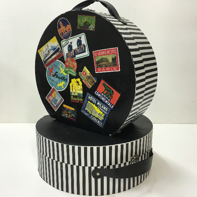 BOX0007 BOX, Hat Box - Black And White Stripe With Travel Stickers $18.75