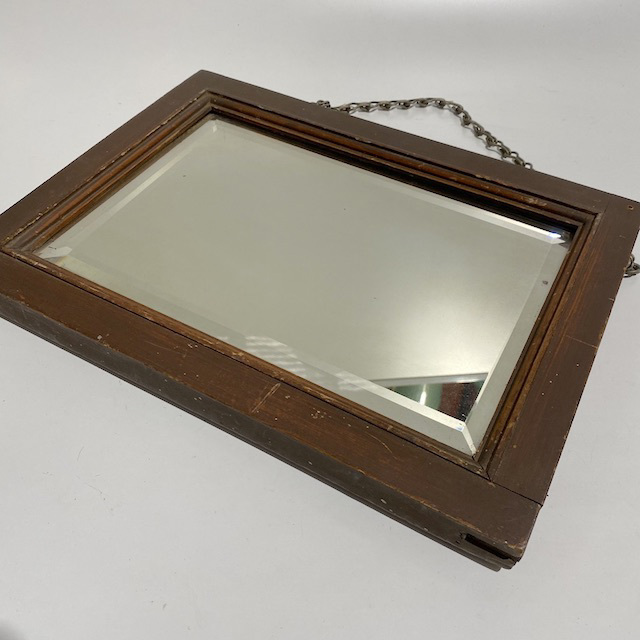 MIR0018 MIRROR, Small Bevelled Edge w Wooden Frame and Chain $15