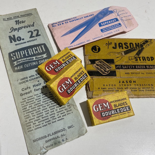 PAC0012 PACKAGING, Vintage Barber or Hairdressing Supplies $5