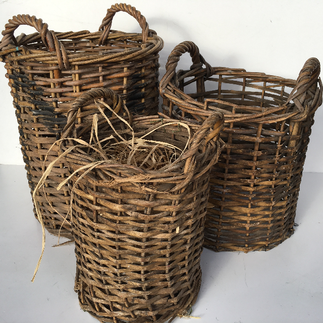 Collection of Narrow Wicker Baskets