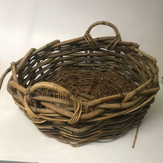 BAS0124 BASKET, Shallow Large Bamboo Wicker w Handles - 60cmD $12.50