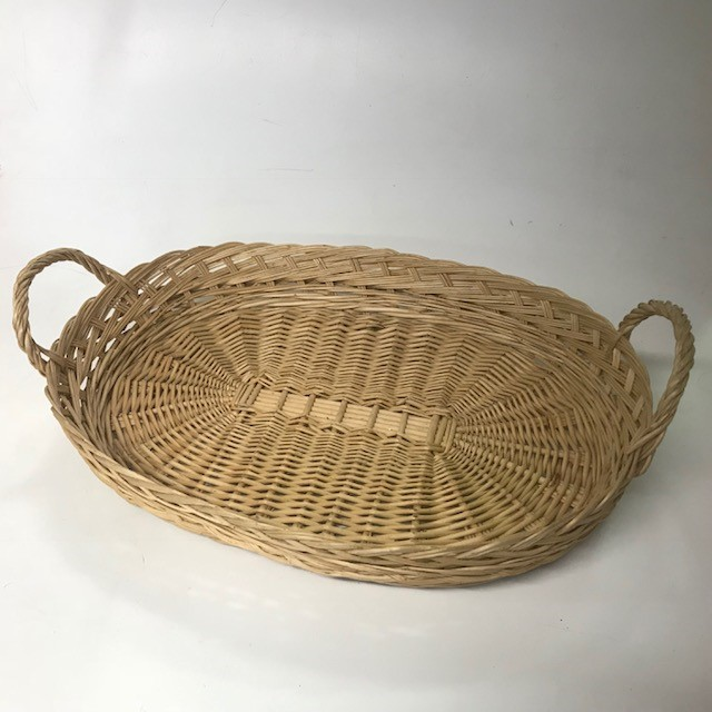 BAS0123 BASKET, Shallow Medium w Handles - Light Colour $6.25
