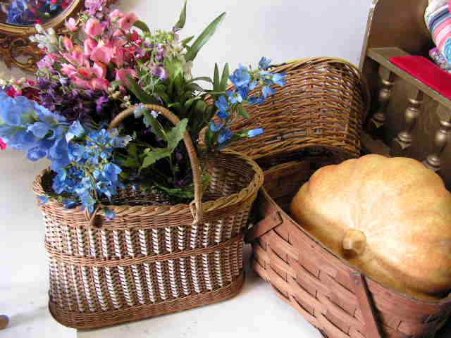 Assorted Vintage Baskets with Flowers