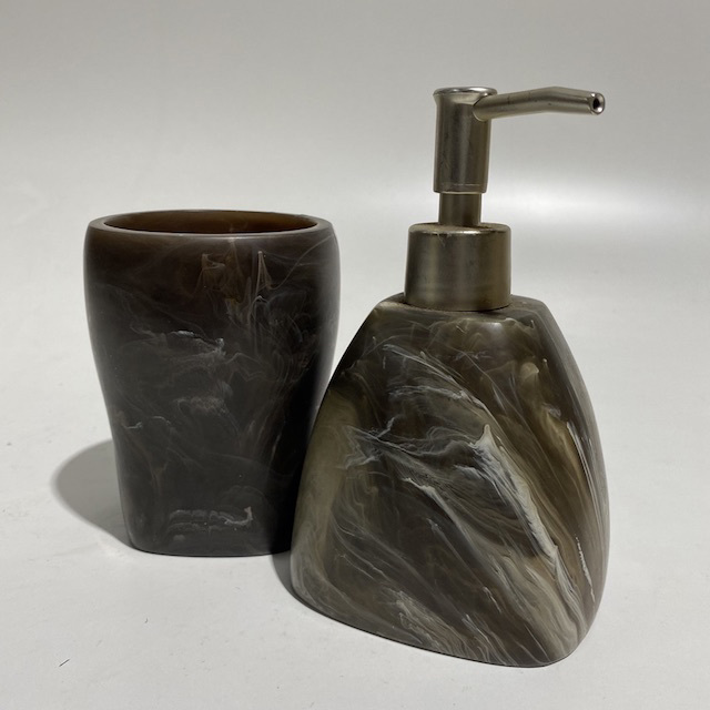 BAT0053 BATHROOM ACCESSORY, Brown Resin Pump Pack or Cup $3.75